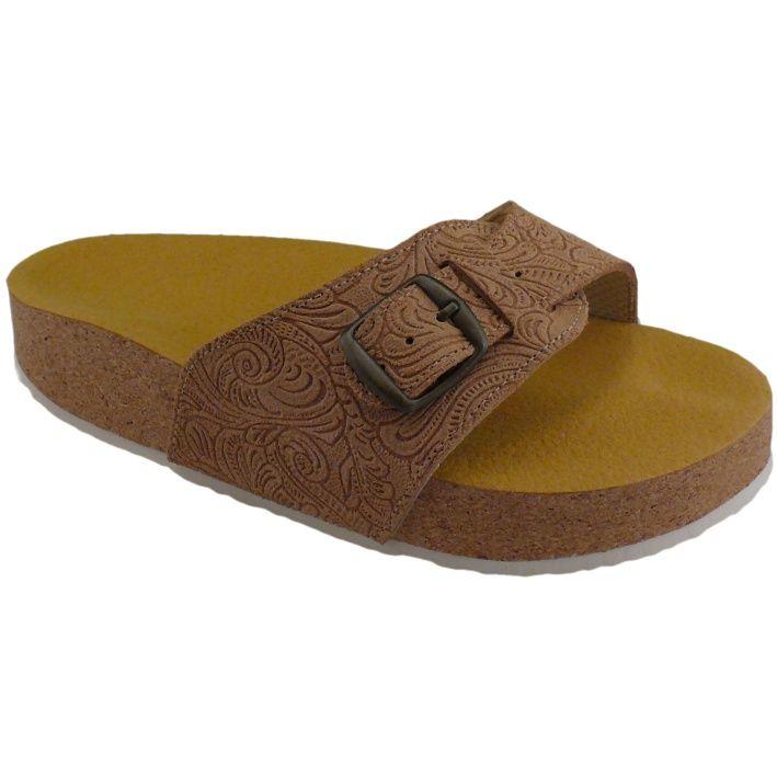Korkové pantofle Pegres s jedním páskem kožené, prolis béžové - velikost 23 - 28