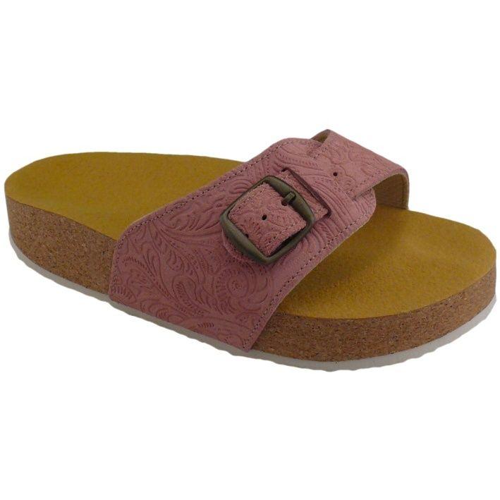 Korkové pantofle Pegres s jedním páskem kožené, cukle, zdravotní, prolis růžové - velikost 23 - 28