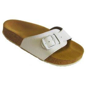 Korkové pantofle Pegres kožené s jedním páskem bílé