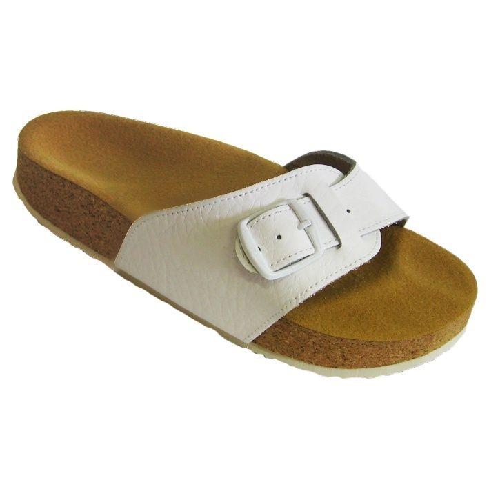 Korkové pantofle Pegres kožené s jedním páskem bílé - velikost 23 - 28