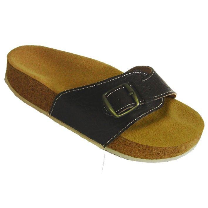 Korkové pantofle Pegres kožené s jedním páskem hnědé - velikost 23 - 28
