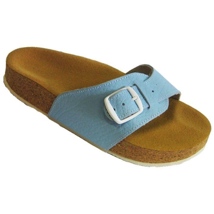 Korkové pantofle Pegres kožené s jedním páskem modré
