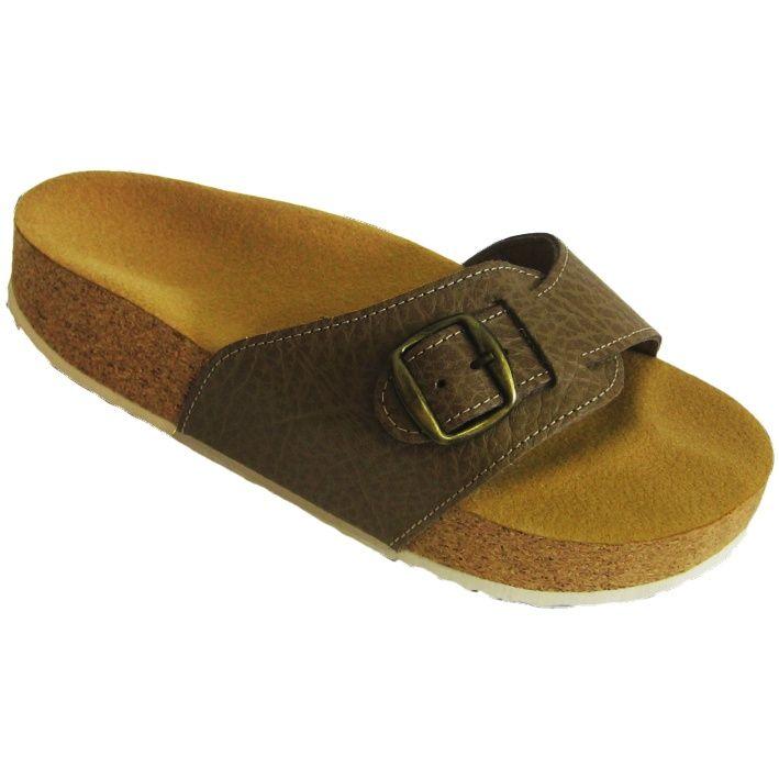 Korkové pantofle Pegres kožené s jedním páskem pískové - velikost 23 - 28