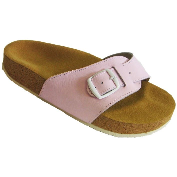 Korkové pantofle Pegres kožené s jedním páskem růžové - velikost 23 - 28