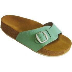 Korkové pantofle Pegres kožené s jedním páskem zelené, vel. 42
