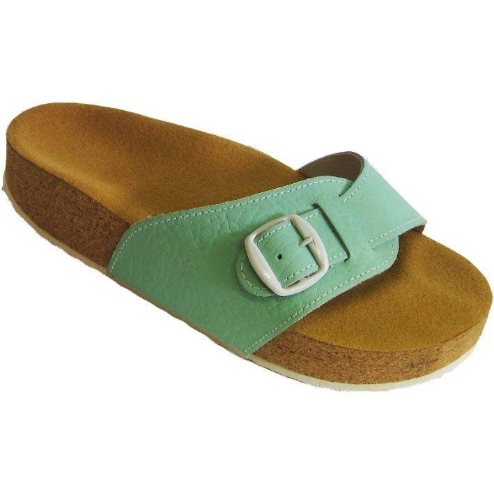 Korkové pantofle Pegres kožené s jedním páskem zelené - velikost 28 (42)