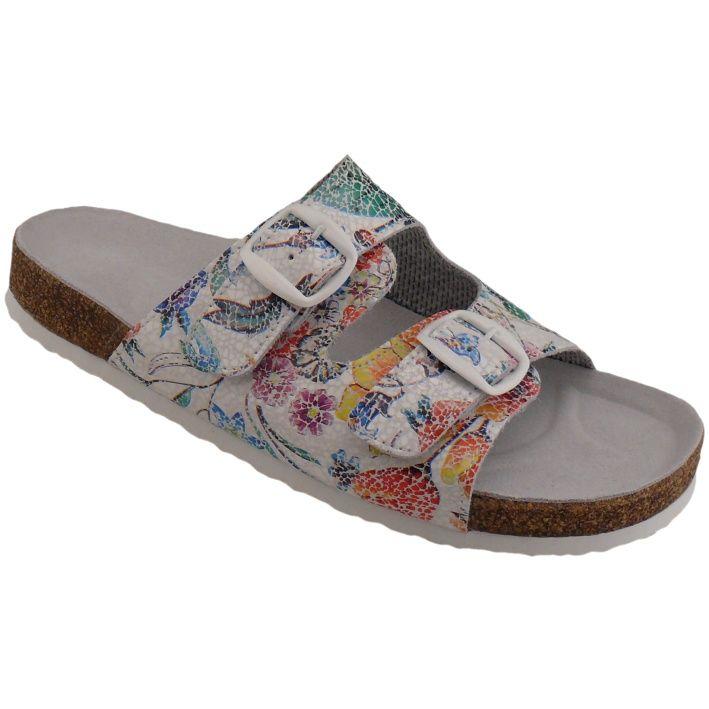 Korkové pantofle Pegres vz. 2100 vel. č. 40 (6,5) bílá barva s květy
