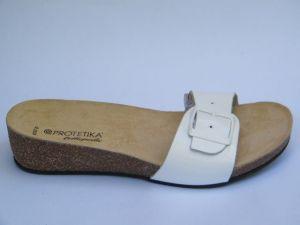 Korkové pantofle Protetika vz. T 84 - bílá lakovaná kůže