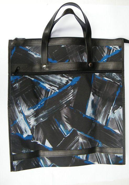 Skládací nákupní taška KšK vzor 156, modročerná omyvatelná taška
