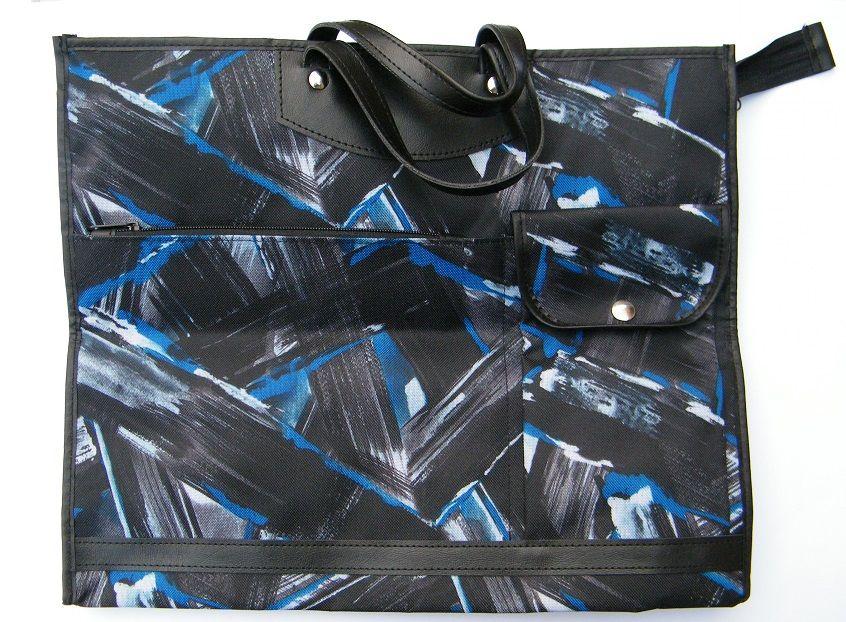 Skládací omyvatelná nákupní taška KšK vzor 232 modro černá