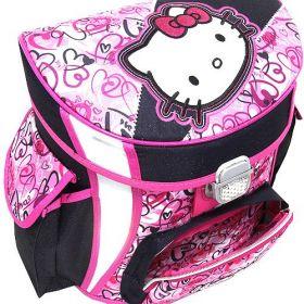Školní set Hello Kitty, Multi Hearts - 4/dílná školní sada aktovka s 3D nášivkou kočičky Hello Kitty, barva růžovo-modrá. Target