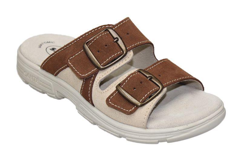Zdravotní pantofle Santé skoženým svrškem a stélkou DM/125/33/47 SP
